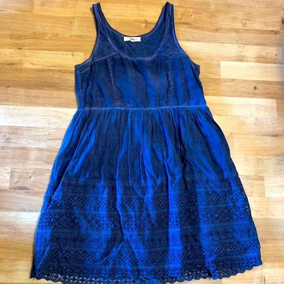 Anthropologie black swan blue embroidered dress M